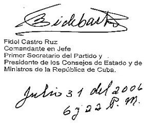 Proclama del Comandante en Jefe Fidel Castro al pueblo de Cuba